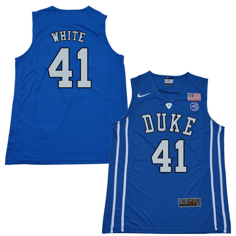 2018 Men #41 Jack White Duke Blue Devils College Basketball Jerseys Sale-Blue