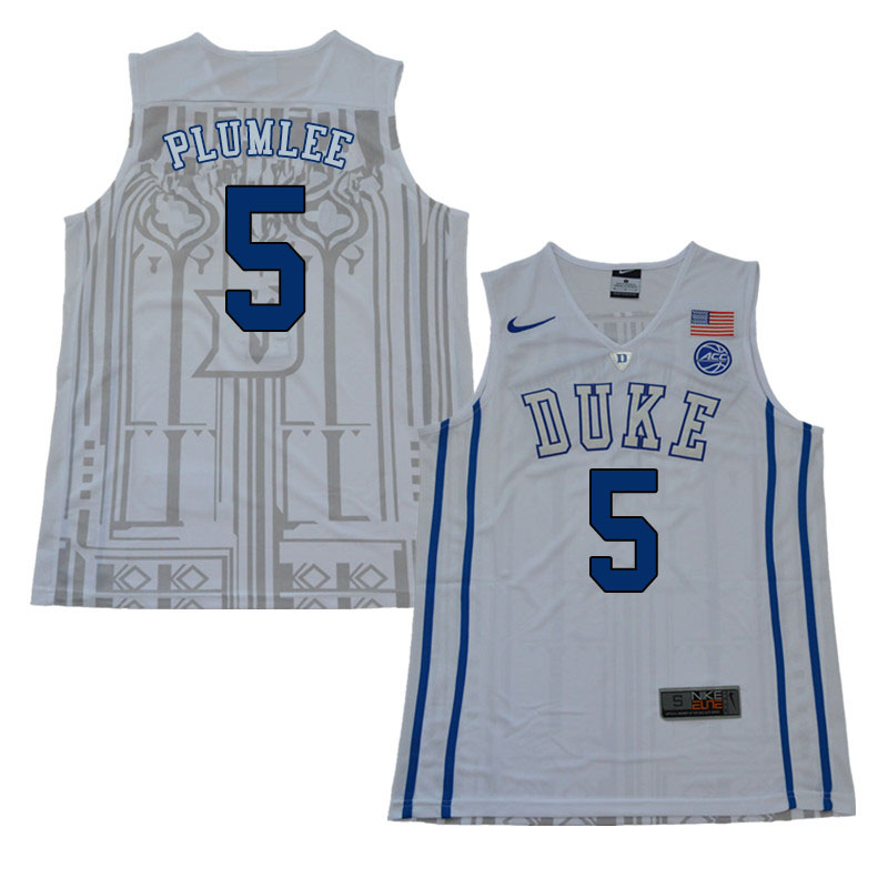 2018 Men #5 Mason Plumlee Duke Blue Devils College Basketball Jerseys Sale-White