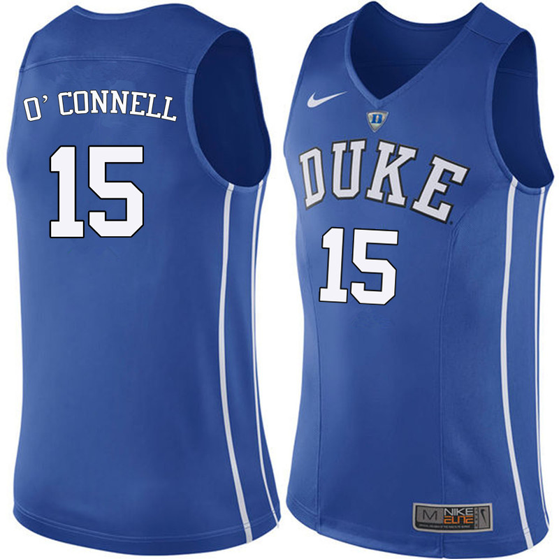Men Duke Blue Devils #15 Alex O'Connell College Basketball Jerseys Sale-Blue