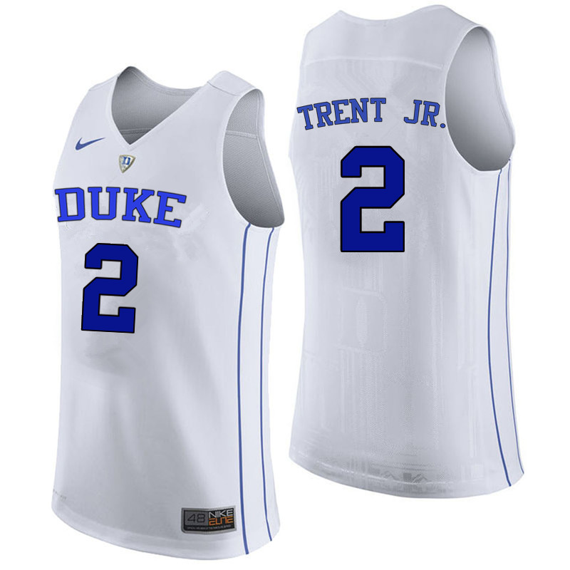 Men Duke Blue Devils #2 Gary Trent Jr. College Basketball Jerseys Sale-White