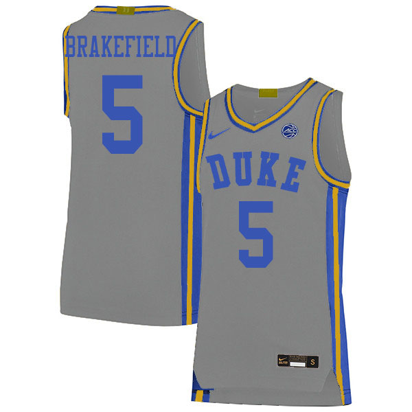 Men #5 Jaemyn Brakefield Duke Blue Devils College Basketball Jerseys Sale-Gray