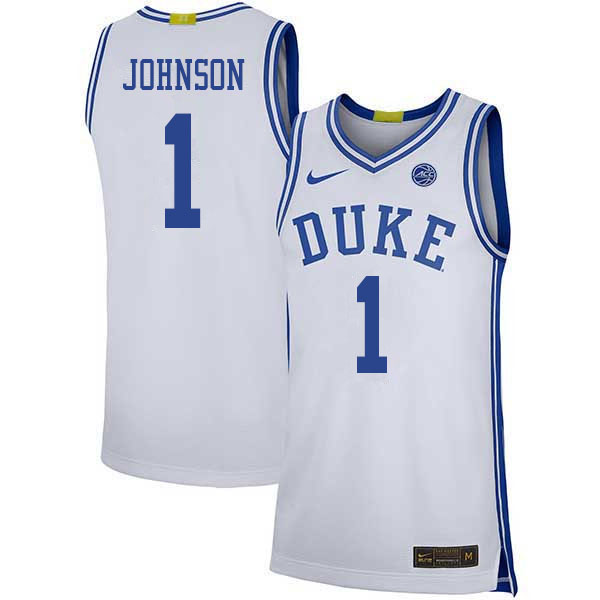 Men #1 Jalen Johnson Duke Blue Devils College Basketball Jerseys Sale-White