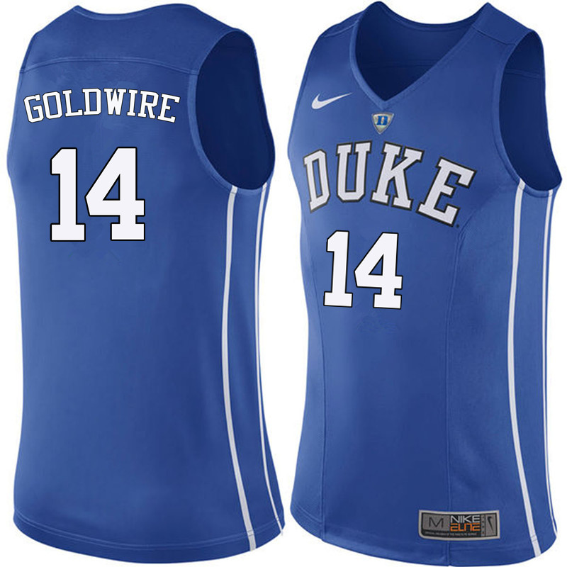 Men Duke Blue Devils #14 Jordan Goldwire College Basketball Jerseys Sale-Blue