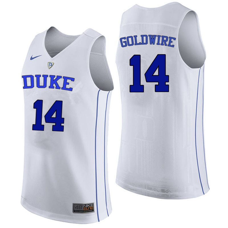Men Duke Blue Devils #14 Jordan Goldwire College Basketball Jerseys Sale-White