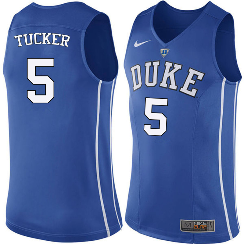 Men Duke Blue Devils #5 Jordan Tucker College Basketball Jerseys Sale-Blue