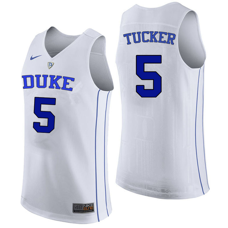 Men Duke Blue Devils #5 Jordan Tucker College Basketball Jerseys Sale-White