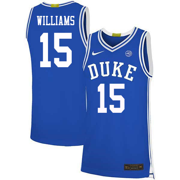 Men #15 Mark Williams Duke Blue Devils College Basketball Jerseys Sale-Blue