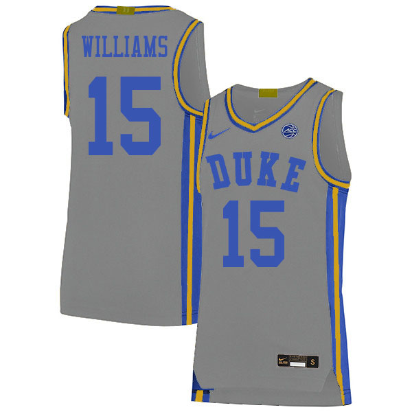 Men #15 Mark Williams Duke Blue Devils College Basketball Jerseys Sale-Gray