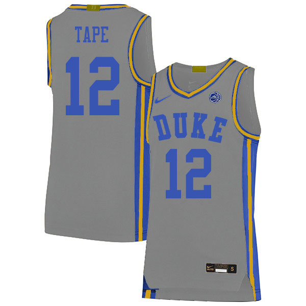 Men #12 Patrick Tape Duke Blue Devils College Basketball Jerseys Sale-Gray