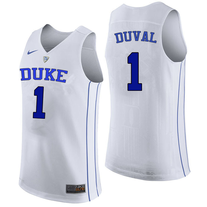 Men Duke Blue Devils #1 Trevon Duval College Basketball Jerseys Sale-White