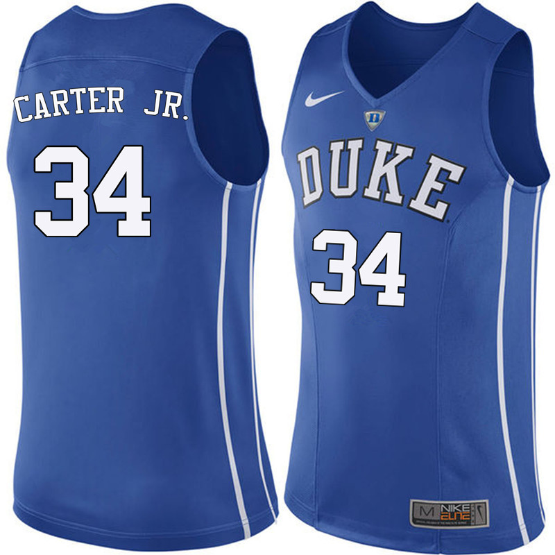 Men Duke Blue Devils #34 Wendell Carter Jr. College Basketball Jerseys Sale-Blue